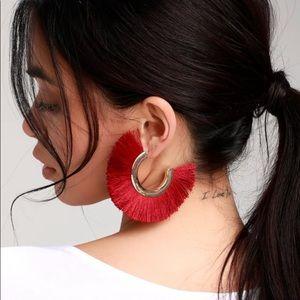 Lulus Big Dark Red Tassel Earrings